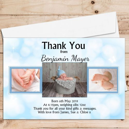 10 Personalised Baby Boy Birth Announcement Thank You Photo Cards N83